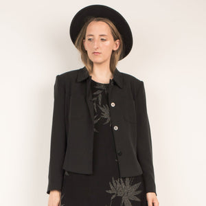Vintage Black Cropped Silk Blazer / S