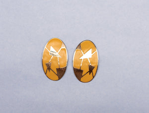 Vintage Gold + Yellow Bowed Oval Geometric Abstract Art Statement Earrings - Closed Caption