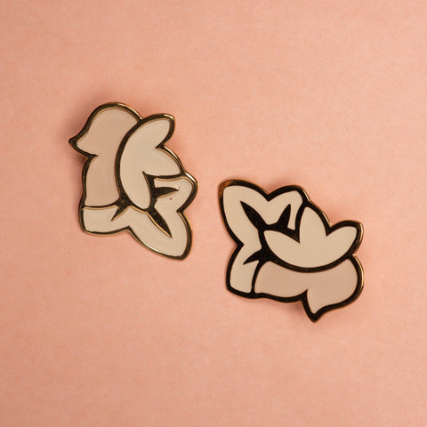 Vintage Gold + Creme Abstract Floral Earrings