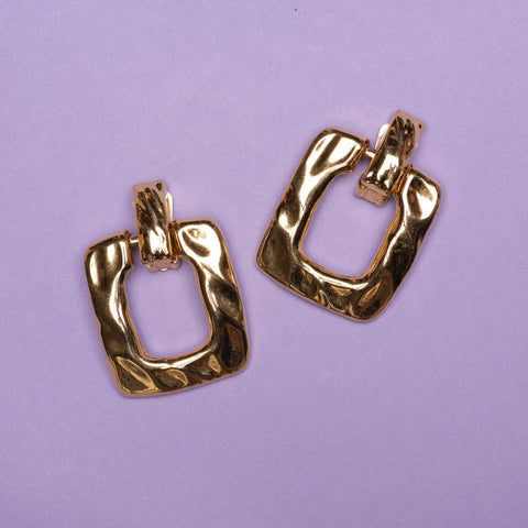 Vintage Gold Hammered Square Door Knocker Clip-On Statement Earrings
