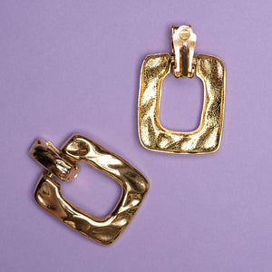 Vintage Gold Hammered Square Door Knocker Clip-On Statement Earrings - Closed Caption