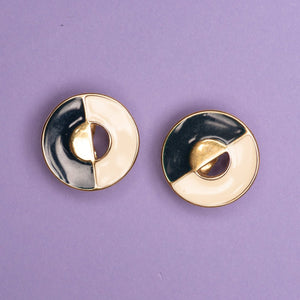 Vintage Art Deco Round Gold Blue + Creme Clip-On Earrings
