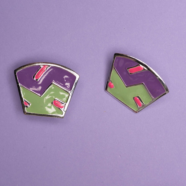 Vintage Abstract Art Silver Purple Green + Pink Earrings
