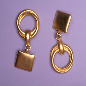 Vintage Gold Large Dangle Statement Clip-On Earrings