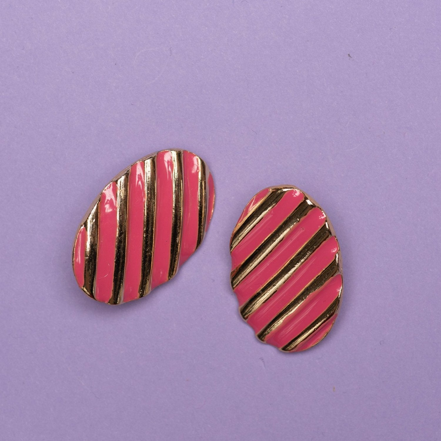 Vintage Gold + Pink Striped Oval Earrings - Closed Caption