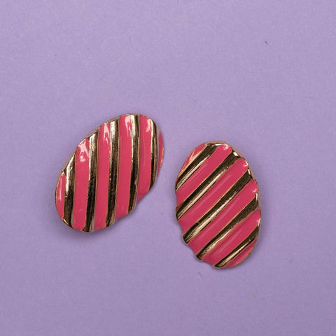 Vintage Gold + Pink Striped Oval Earrings