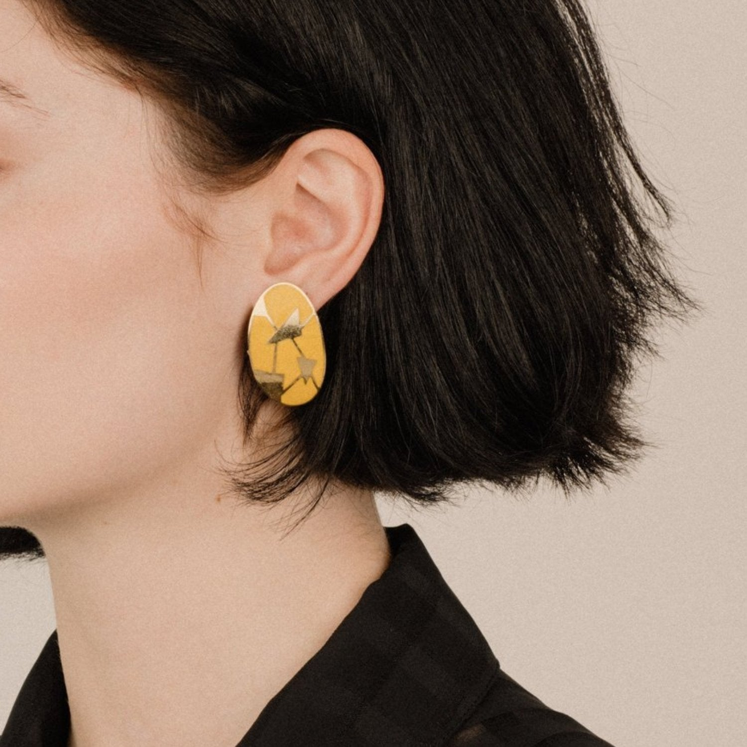 Vintage Gold + Yellow Bowed Oval Geometric Abstract Art Statement Earrings
