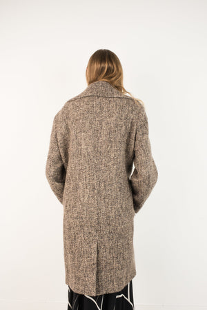 Vintage Salt + Pepper CALVIN KLEIN Boucle Oversized Wool Coat / S - Closed Caption