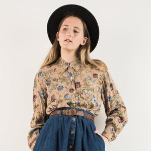 Vintage Sandalwood Floral Button Up Shirt / S