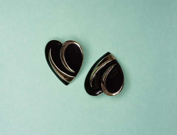 Vintage Black + Gold Statement Heart Earrings