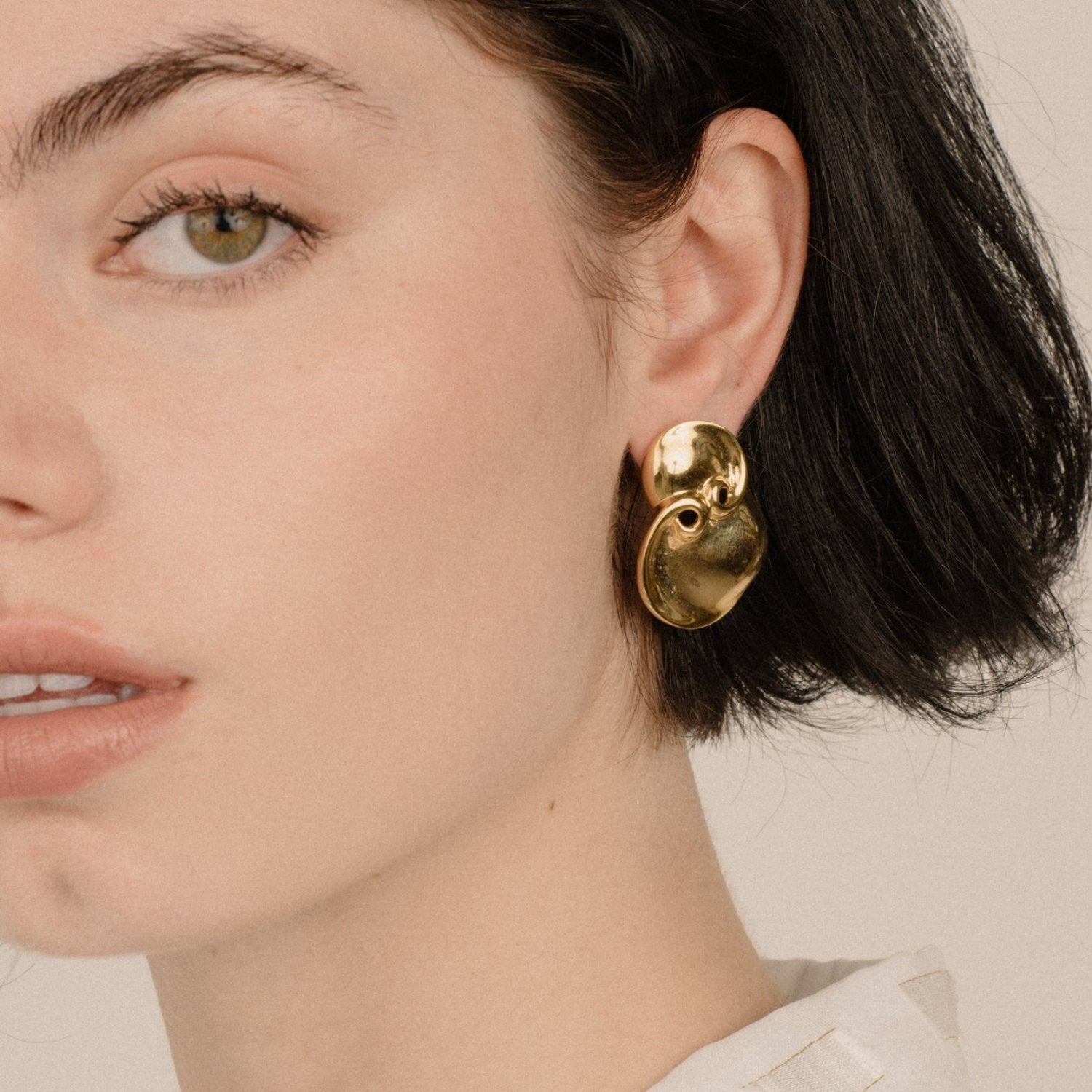 Vintage Gold Geometric Double Circle Statement Earrings