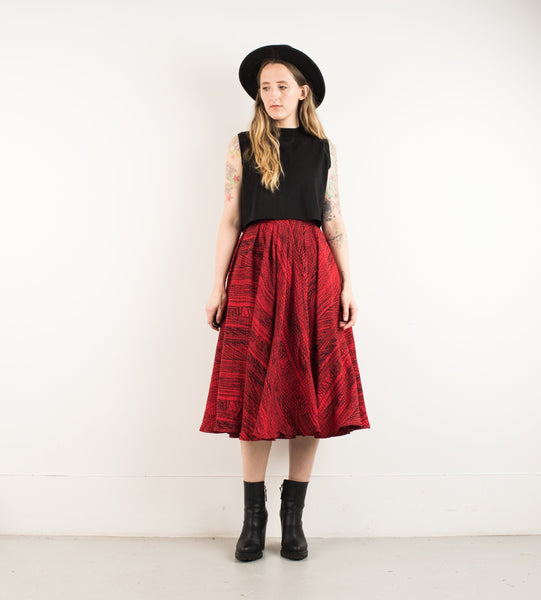 Vintage Ruby Abstract Brushstroke Skirt / S