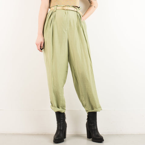 Vintage Green High Waisted Wide Leg Trousers / M/L