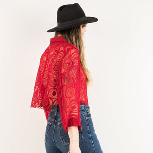 Vintage Red Cherry Abstract Lace Cropped Blouse / S/M