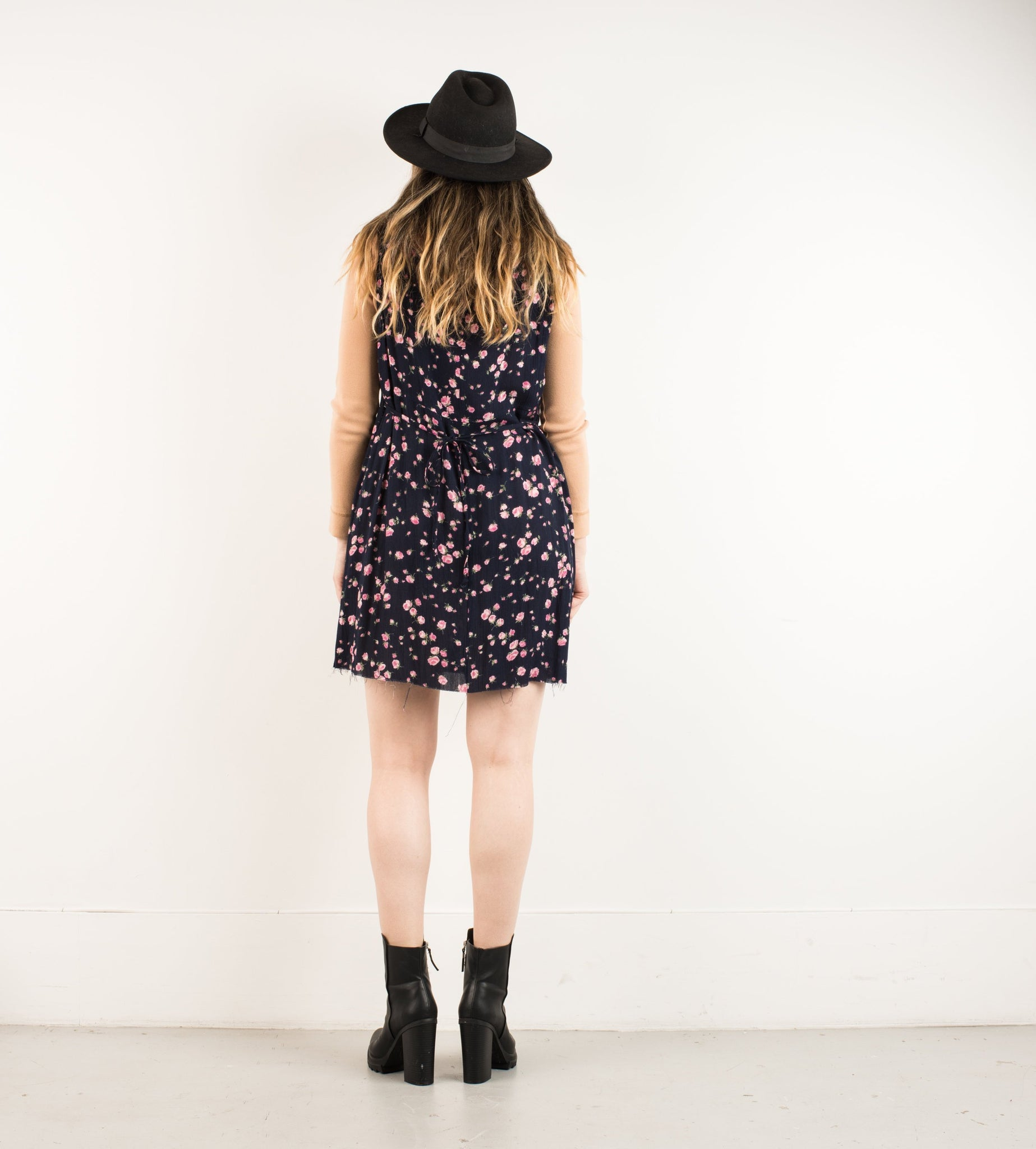 Vintage Black Floral Oversized Raw Hem Shirt Dress / S/M - Closed Caption