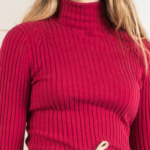 Vintage Raspberry Ribbed Knit Turtleneck Sweater / XS/S - Closed Caption