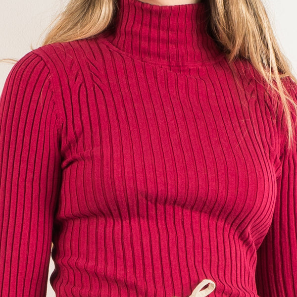 Vintage Raspberry Ribbed Knit Turtleneck Sweater / XS/S
