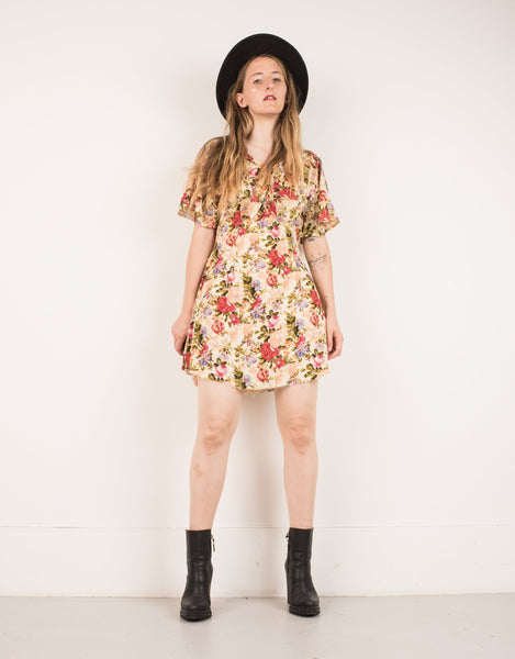 Vintage Peach Floral Dress with a Raw Hem / S