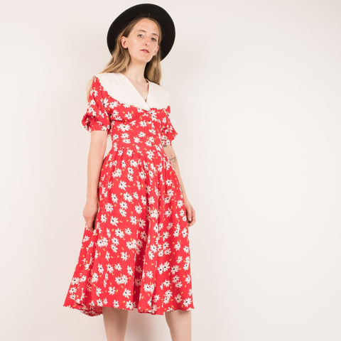 Vintage Red Daisy Dress / XS/S