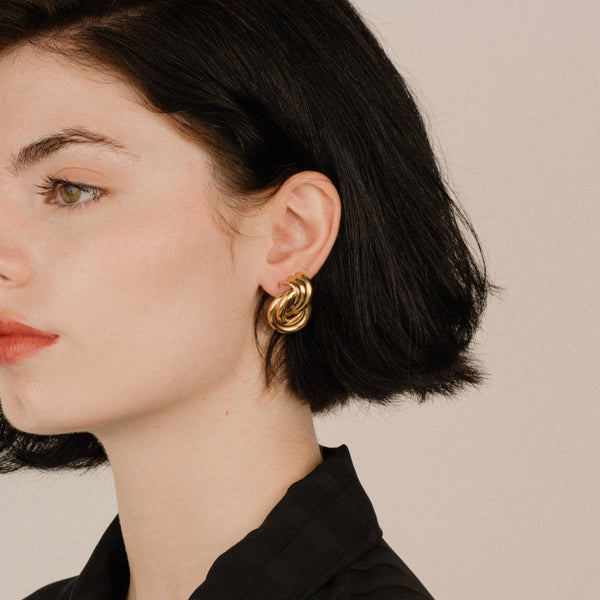 Vintage GIVENCHY Gold Cluster Clip-On Statement Earrings