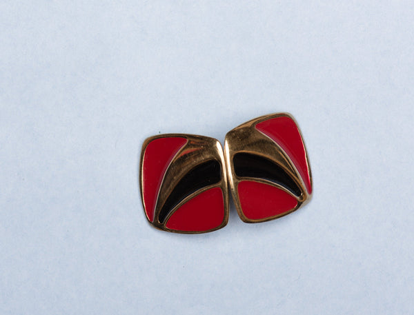 Vintage Gold + Red + Black Square Earrings