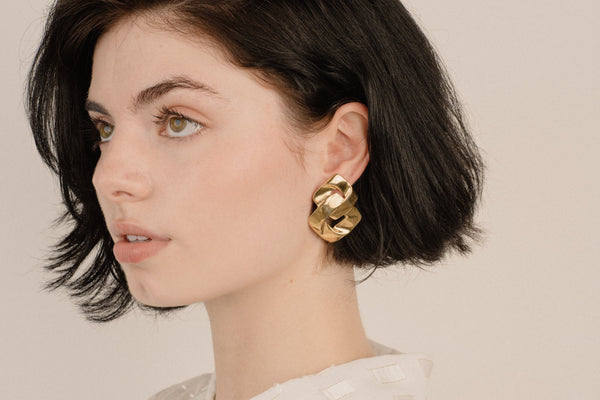 Vintage Gold Geometric Double Square Statement Earrings