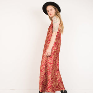 Vintage Red + Gold Maxi Slip Dress / S/M
