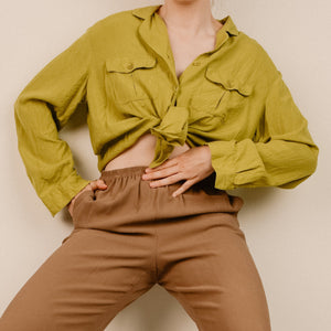 Vintage Apple Green Oversized Silk Blouse / S - Closed Caption