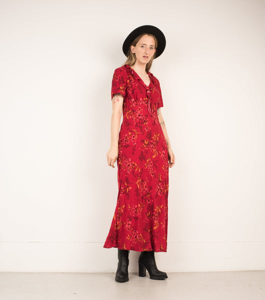 Vintage Red Floral Ruffle Maxi Dress / S