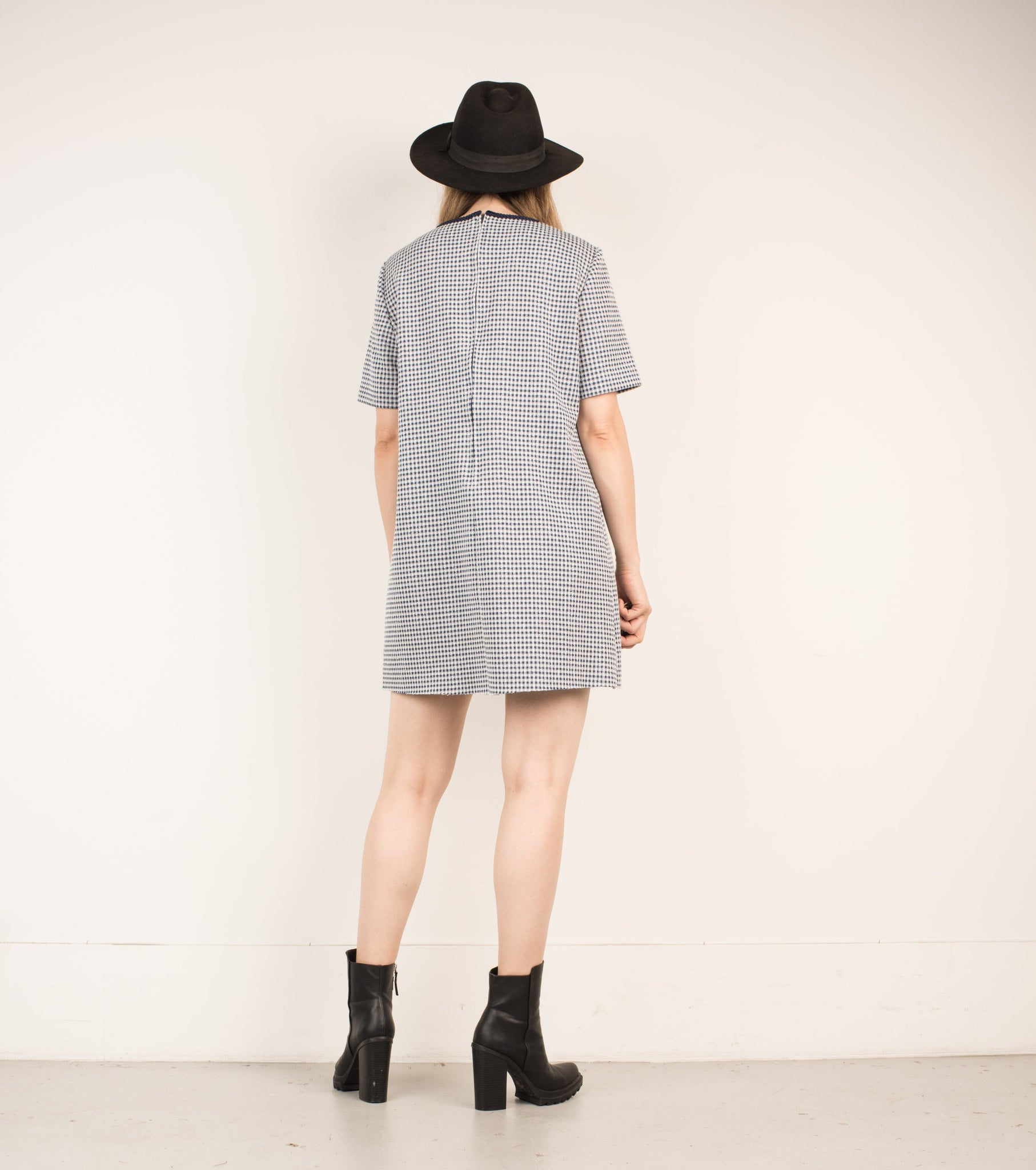 Vintage Bue + White Gingham Dress / S - Closed Caption