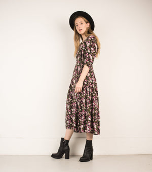 Vintage Black + Cherry Blossom Floral Maxi Dress / S - Closed Caption