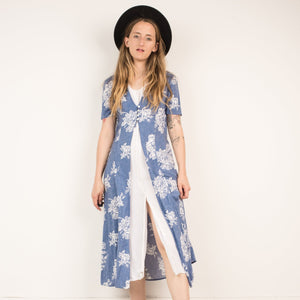 Vintage Cornflower Floral Two Layer Button-up Dress / S