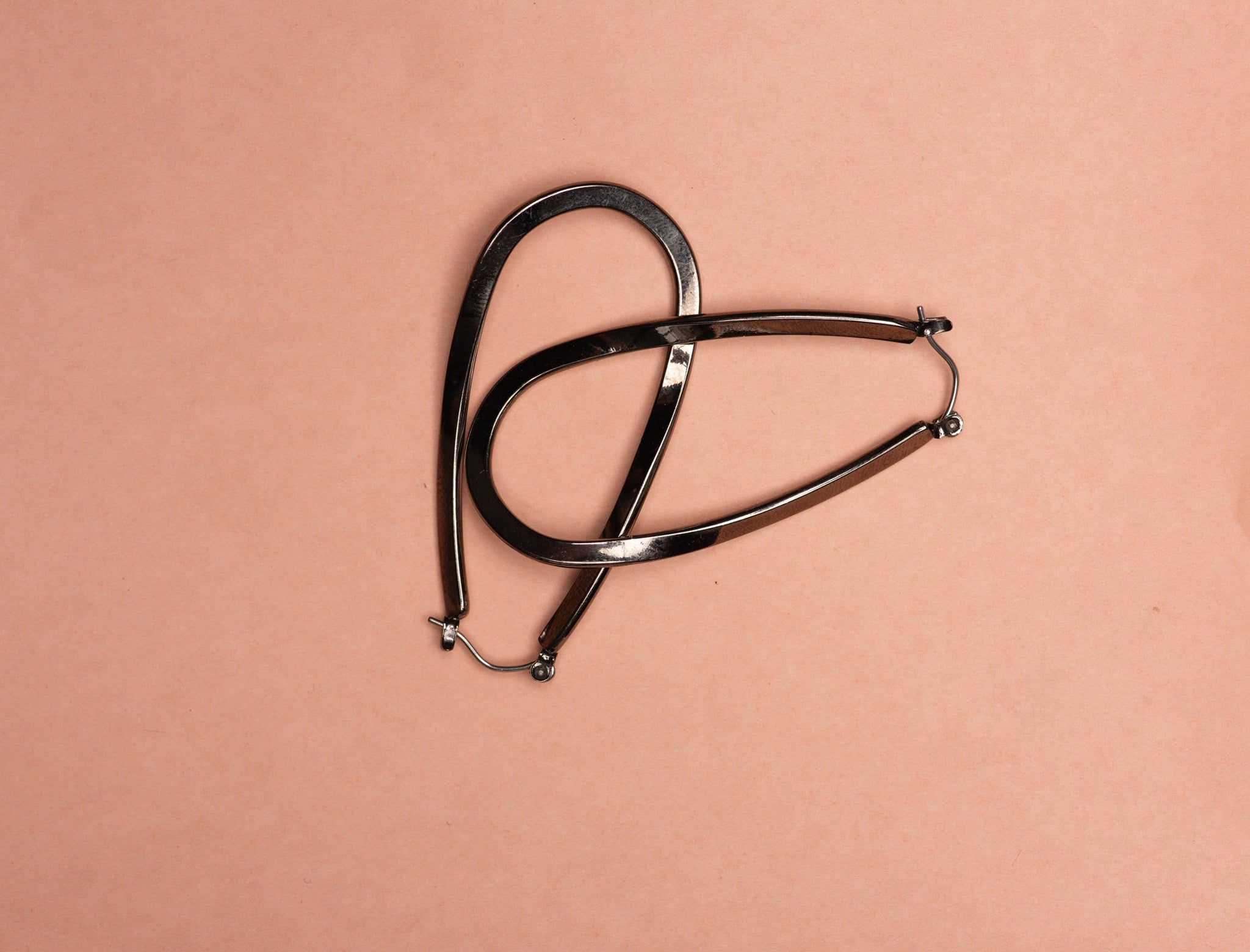 Vintage Gunmetal Figure Eight Hoop Earrings