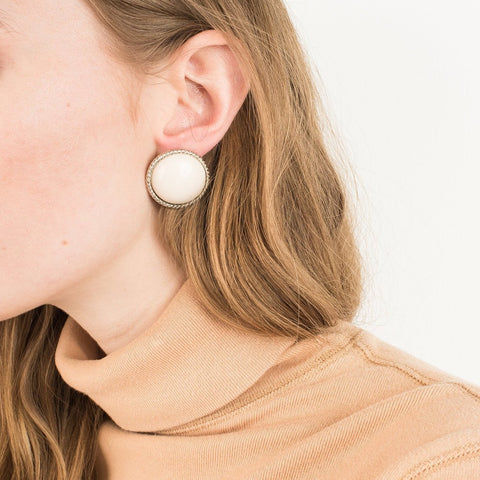Vintage Silver + Creme Domed Button Statement Earrings