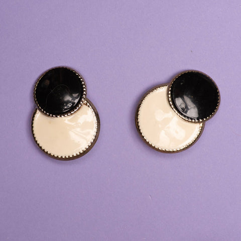 Vintage Silver Double Circle Creme and Black Clip-On Statement Earrings