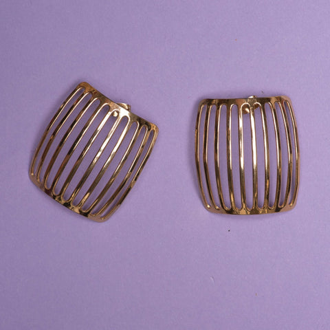 Vintage Gold Square Statement Earrings