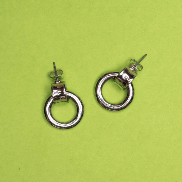 Vintage Silver Door Knocker Hoop Earrings
