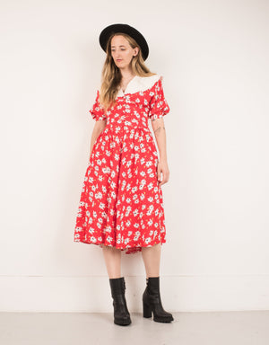 Vintage Red Daisy Dress / XS/S - Closed Caption