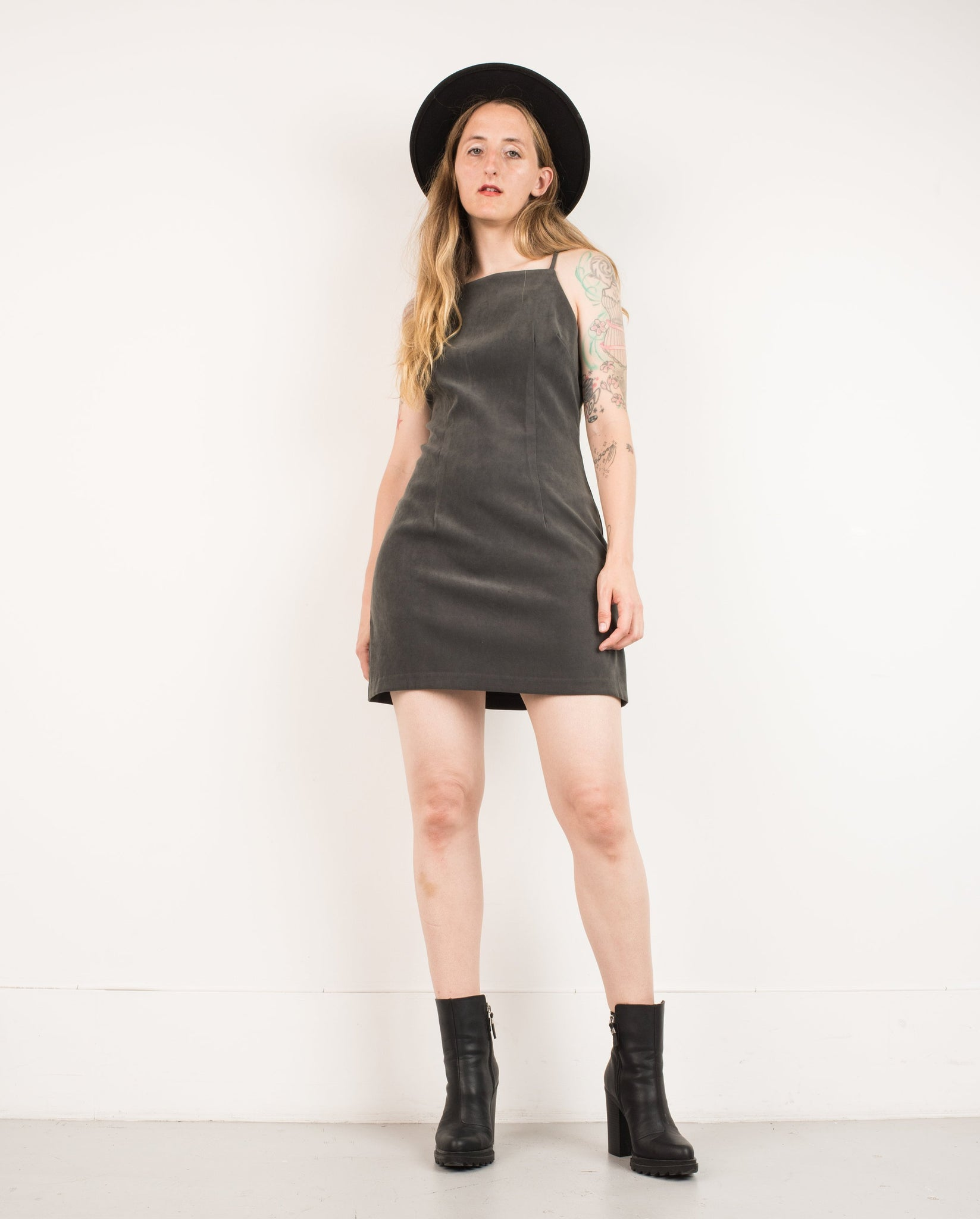 Vintage Charcoal Spaghetti Strap Dress / S - Closed Caption