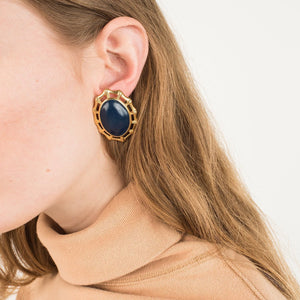 Vintage Gold Navy Oval Statement Earrings - Closed Caption