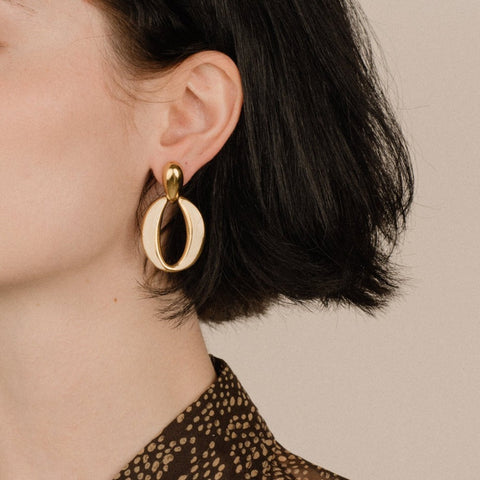 Vintage Gold + Creme Door Knocker Hoop Earrings