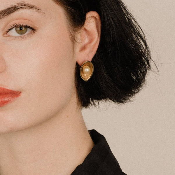 Vintage Gold Eye with Pearl Clip-On Statement Earrings