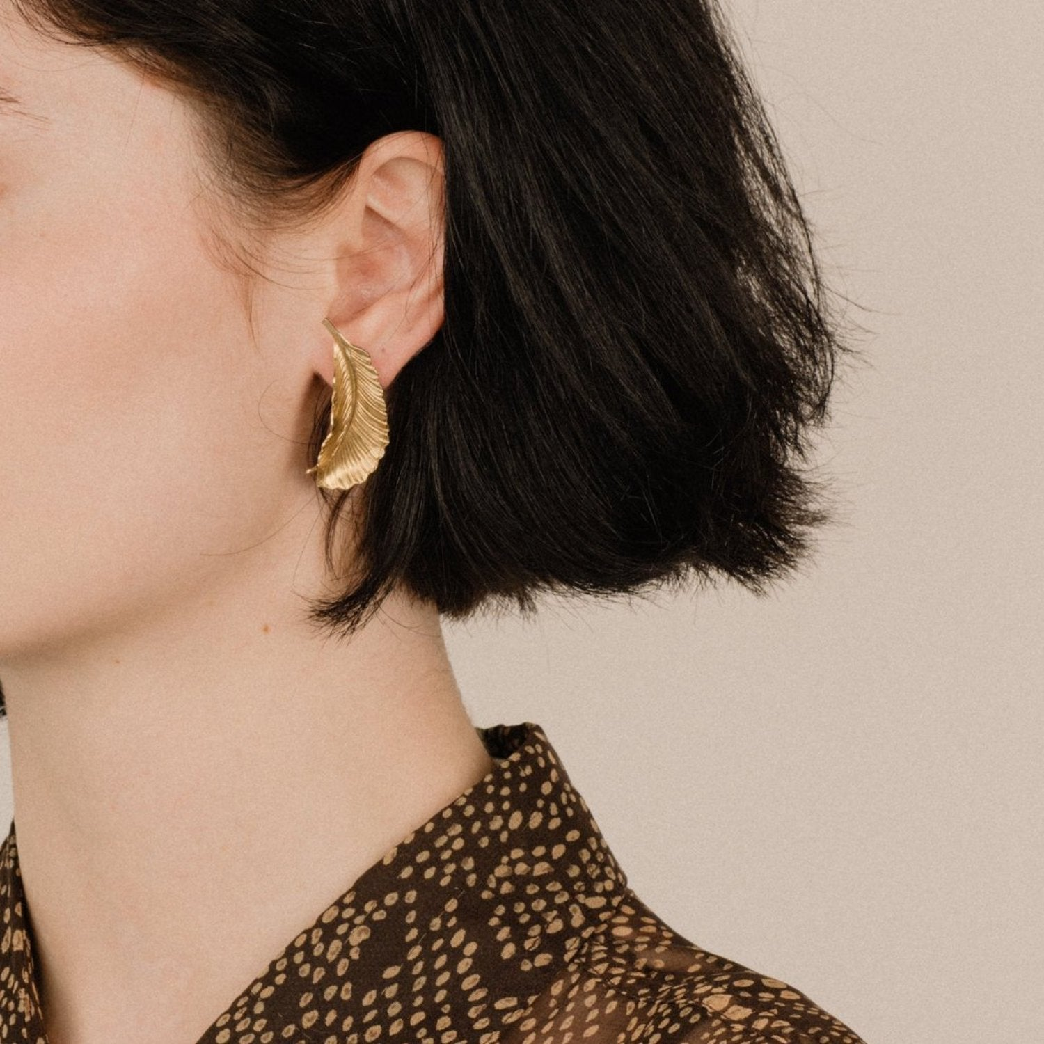 Vintage Gold Feather Statement Earrings