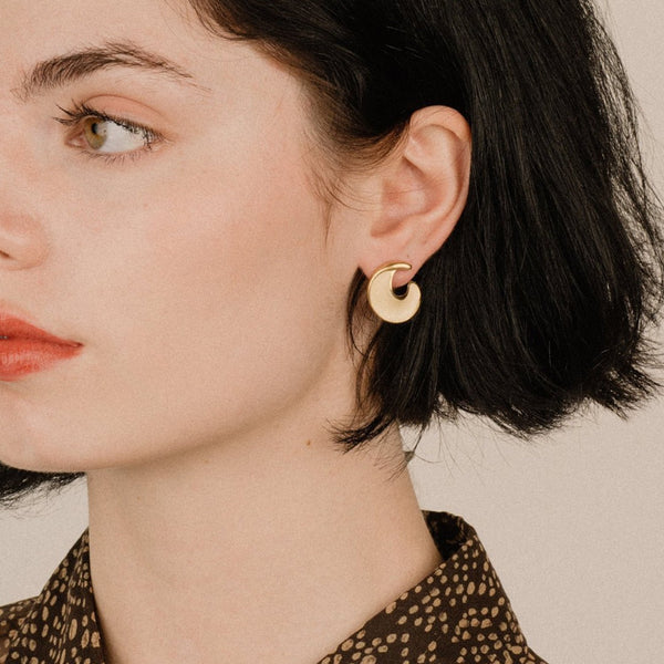 Vintage Gold + Creme Twisted Hoop Earrings