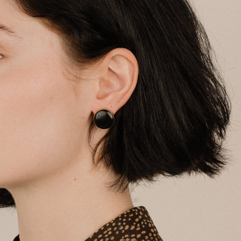 Vintage Gold + Black Chunky Stud Earrings