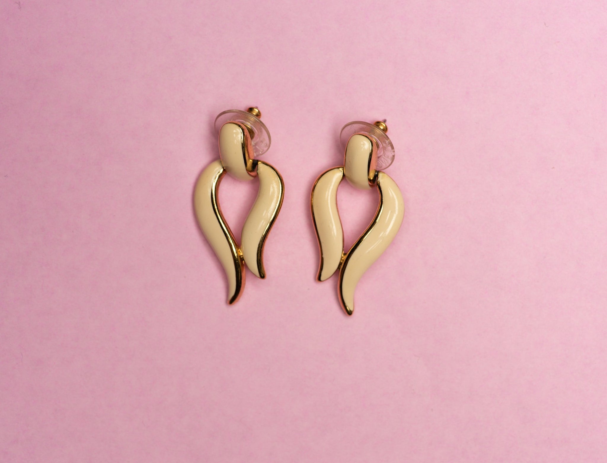 Vintage Gold + Creme Door Knocker Earrings - Closed Caption