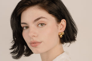 Vintage Gold Three Circle Statement Earrings - Closed Caption