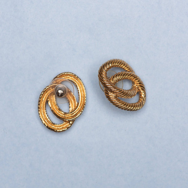 Vintage Gold Double Rope Circle Earrings