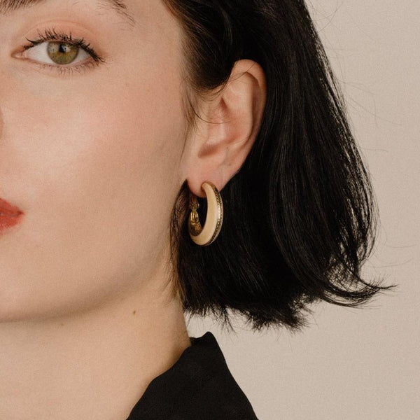 Vintage Chunky Hoop Gold and Creme Clip-On Earrings