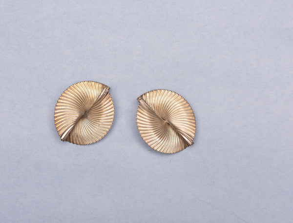 Vintage 925 STERLING SILVER Abstract Circle Statement Earrings